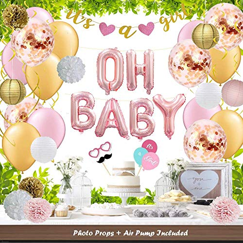 (73 pc Baby Shower Decoration Girl // OH BABY It's a Girl Banner Pom Poms Garland Paper Lanterns Rose Gold Pink and Gold Balloons Photo Props Kit Set)