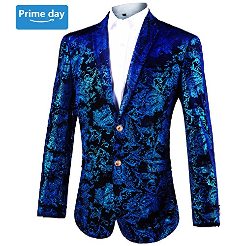 Mens Blazer Floral Dress Suit Jacket❤Party Tuxedos Slim Fit❤Luxury Notched Lapel Blazer(Blue, M) - Notched Lapel Blazer