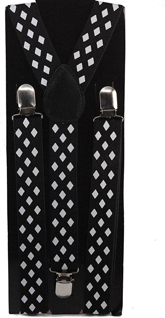 AJ Accessories Youth Boys Mustaches Adjustable Nylon Suspenders White//Black