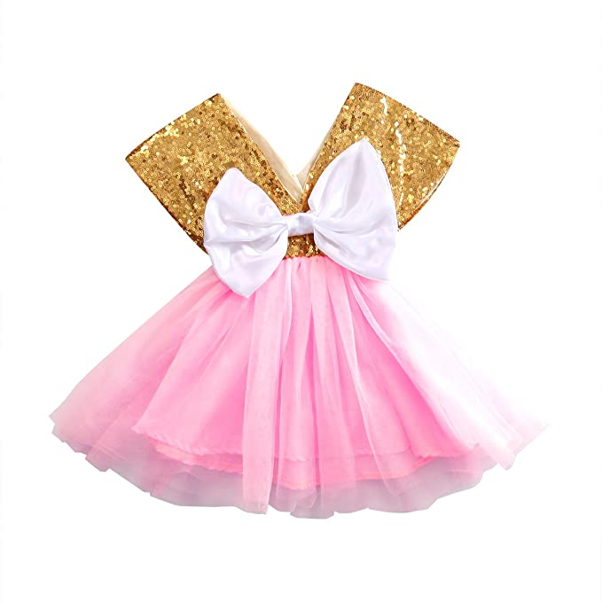 a120cb50f Baby Girl Dress Gold Sequins Bowknot Princess Wedding Party Pageant ...