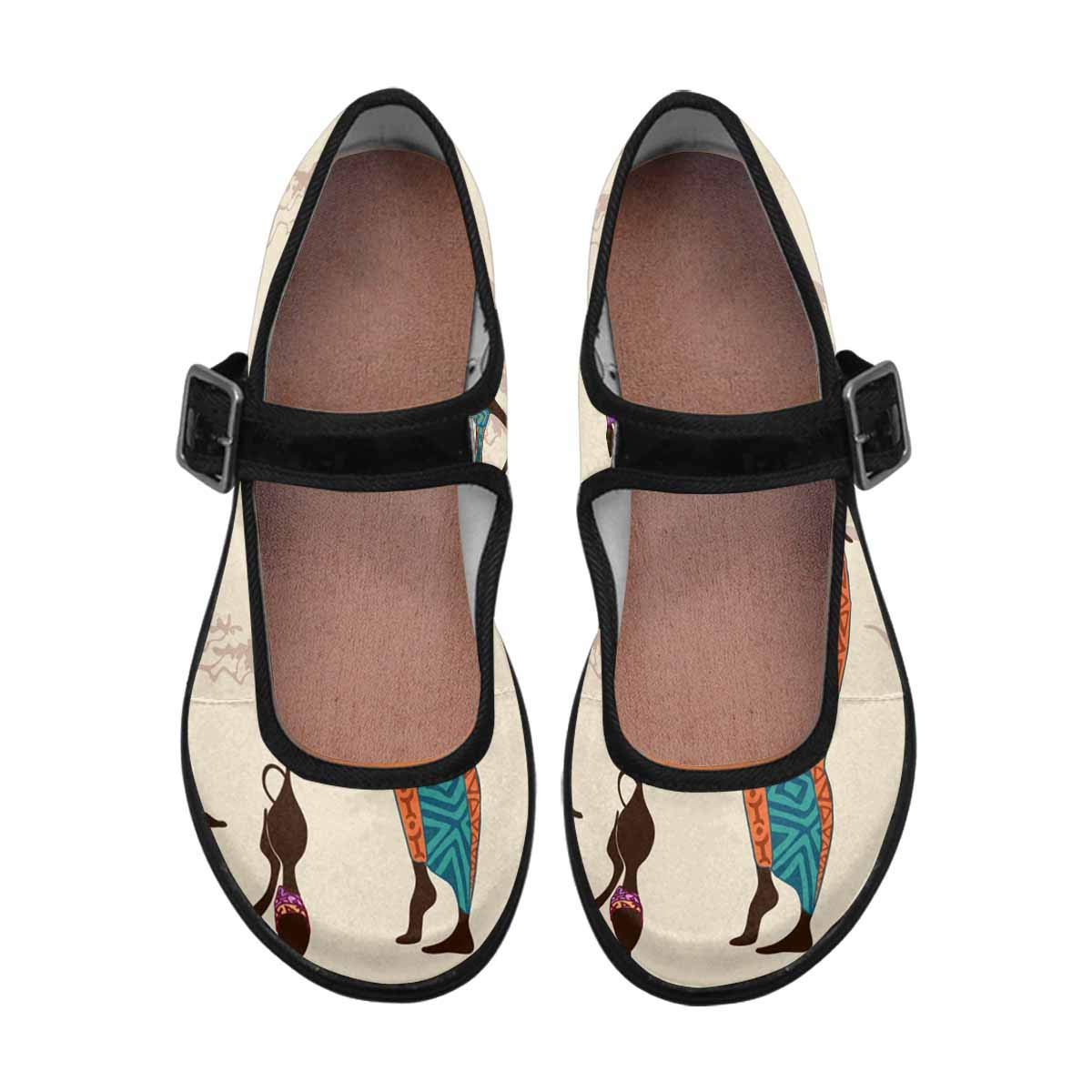 INTERESTPRINT Womens Satin Mary Jane Flats Ballet Shoes Beautiful African Women with Vases