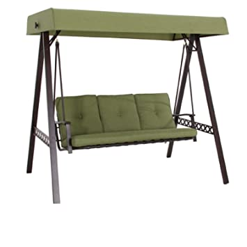 New Outdoor 3 Triple Seater Swing Glider Canopy Patio Deck Green  sc 1 st  Amazon.com : porch glider with canopy - memphite.com
