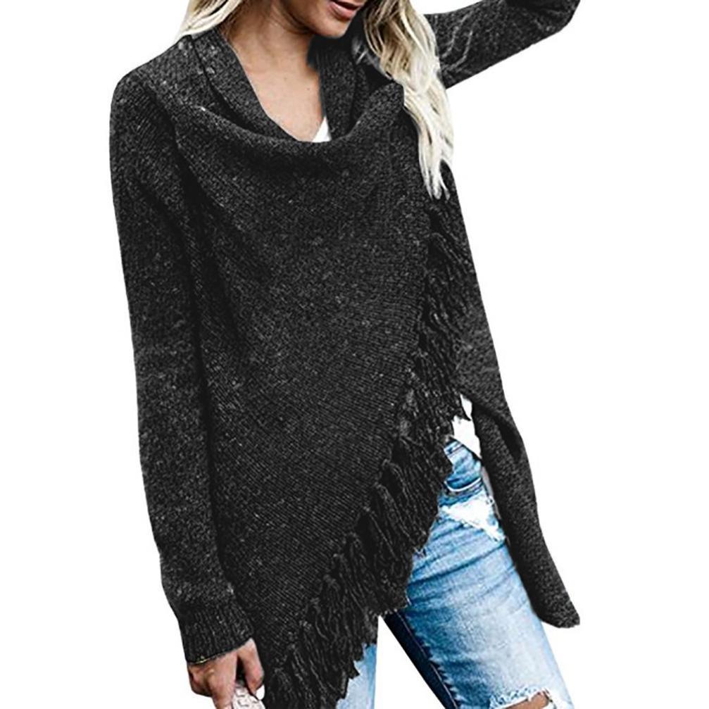 Hunzed Women Shirt, Women Fashion Stripes Poncho T-Shirt Casual Fall Tassels Tops Lady Slash Gradient Shawl Hem Fringe Sweater Blouse Loose Pullover Tops (Black, L)