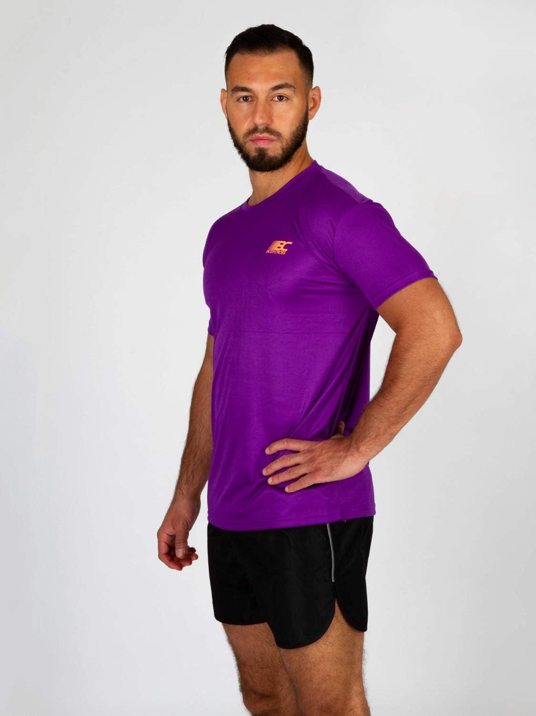 BODYCROSS Maillot Manches Courtes Col Rond Homme M/éo Violet Running Anti-Bact/éries et Anti-Odeurs L/éger Respirant Training Jogging