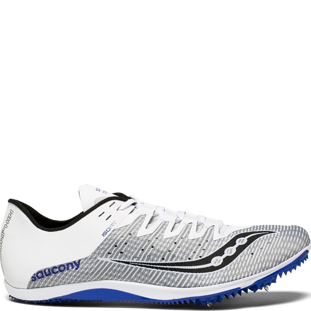 Saucony Men's Endorphin 2 Track and Field Shoe, White/Blue, 12.5 Medium US