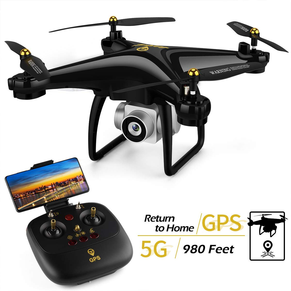 Smart Return Home with Headless Mode for Adults Black 40 Mins Flight Time 5G WiFi FPV Live Video Quadcopter Drone Follow Me JJRC H68G GPS RC Drone with 1080P HD Camera