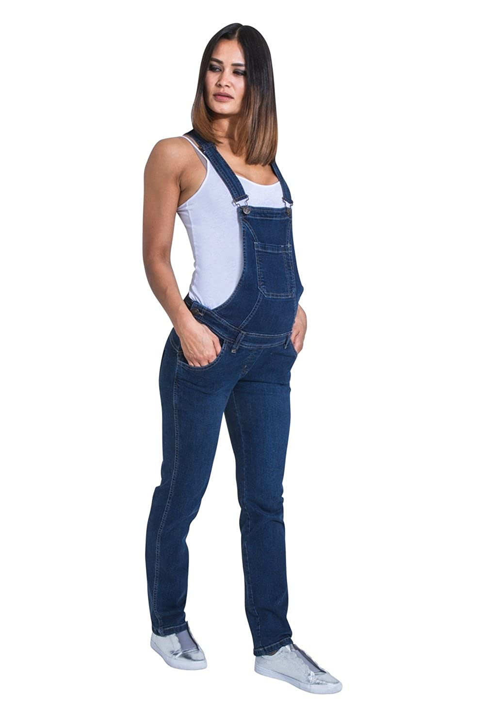 USKEES Maternity Dungarees - Darkwash Denim Blue Pregnancy Overalls Maternity Fashion Grace