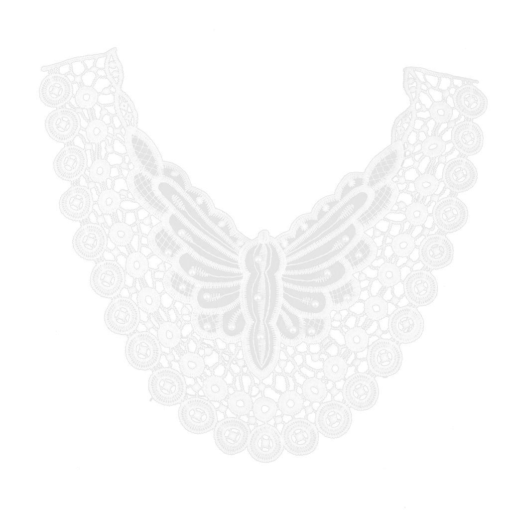 Faux Pearl Decorated Cotton Neckline Collar Sewing Craft Trimming Applique White
