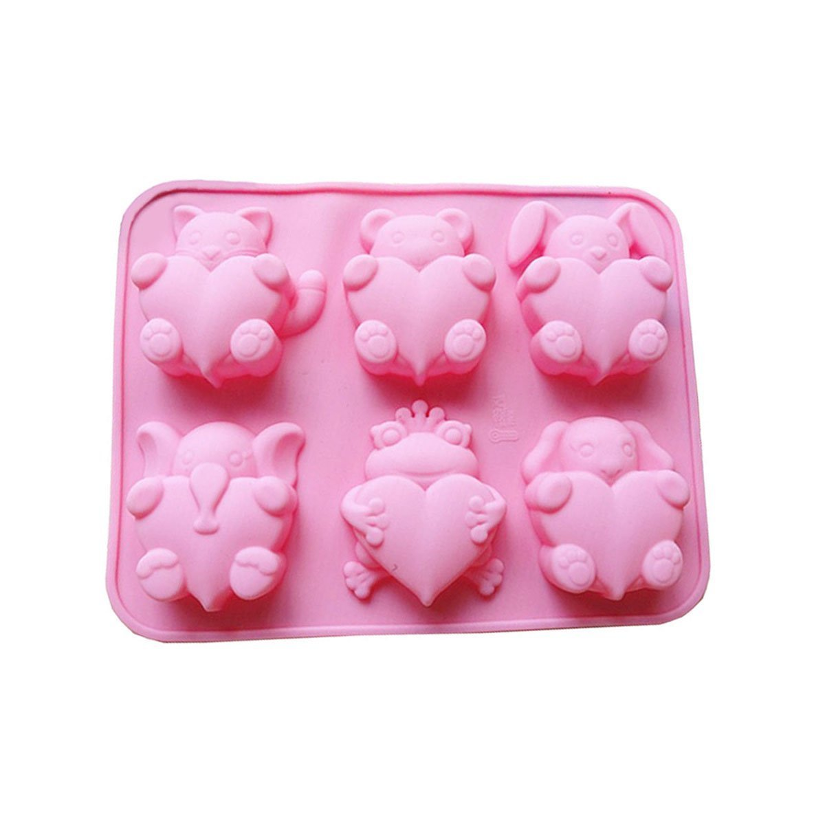 Cherion 6 Cavities Different Cute Animal-shaped Love Silicone Cake Baking Mold Handmade Soap Moulds Cake Pan Muffin Cups Biscuit Chocolate Ice Cube Tray DIY Mold, Pink