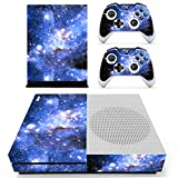 eXtremeRate® Blue Galaxy Full Set Faceplates Skin Stickers for Xbox One S Console Controller with 2 Pcs Console Power Button Decals