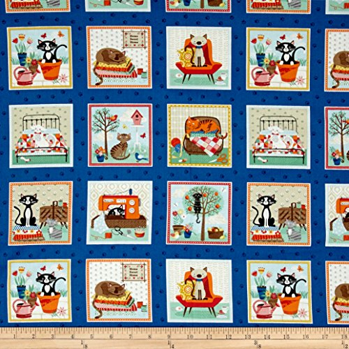 Crafty Cats - Andover & Makower Crafty Cats Labels Multi Fabric By The Yard