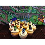 Thomas the Train & Friends Deluxe Figure Set of 12 Cake Toppers Cupcake Toppers Party Decorations with Harold the Helicopter