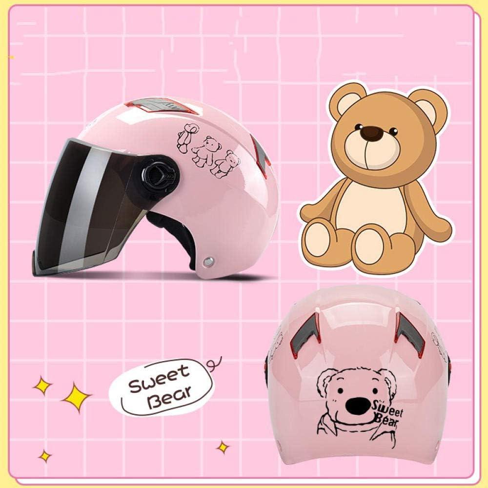 Bicicleta certificada Bicicleta Casco de skate, motocicleta, lluvia de protección solar de verano para hombres, sombrero de sol reflectante ligero para mujer con batería semicubierta, oso rosa claro,