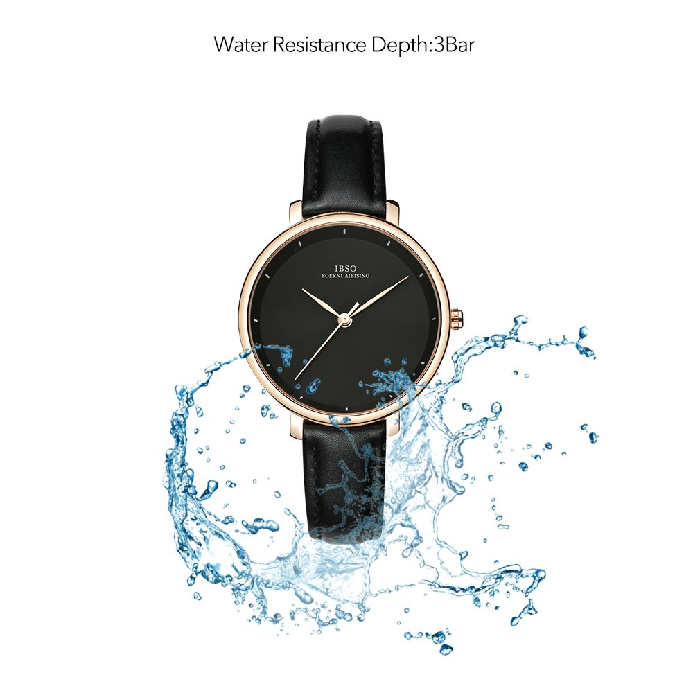Women Simple Face Watches Leather Band Luxury Quartz Watches Girls Ladies Wristwatch Reloj De Mujer (Black) by IBSO BOERNI AIBISINO (Image #6)