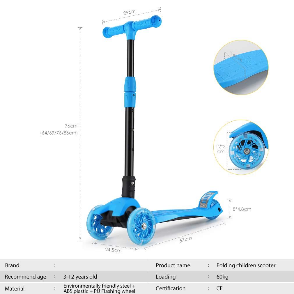 Patinete de 3 Ruedas con Diseño Scooter para Niños de 2 a 12 Años de Edad (Azul Claro)