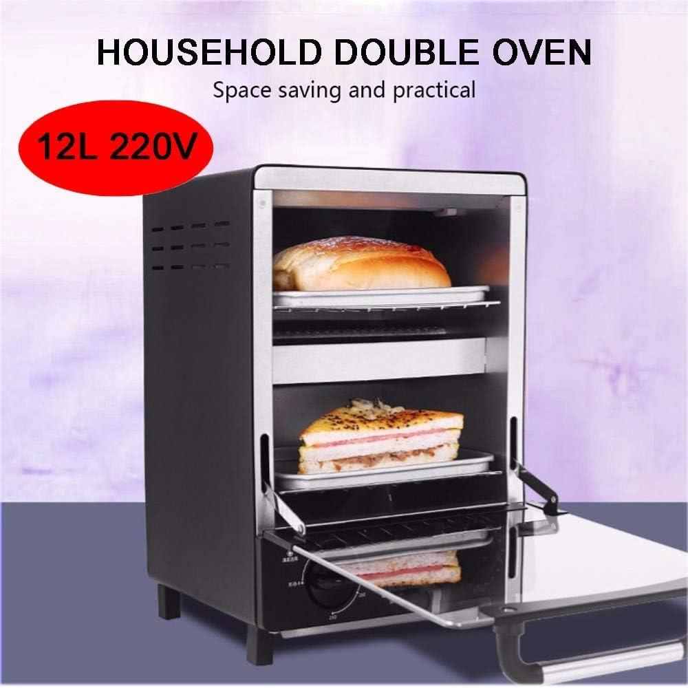 HIGHKAS 12L Mini Oven es una Deliciosa máquina para Hacer Alimentos un Buen ayudante para su Cocina.Ahorra Tiempo Esfuerzo es para la Temporada navideña, Negro