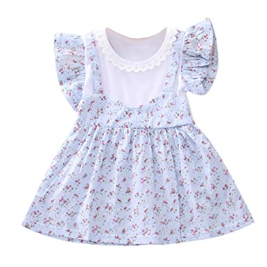 Fashion Cute Toddler Infant Girl Lace Abstract Print Casual Princess Strap Dress
