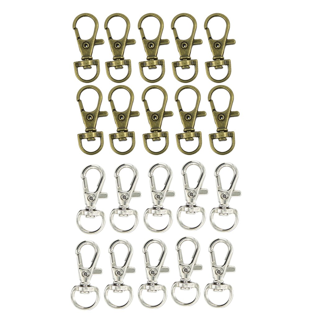 Baoblaze 20pcs Bag Lobster Clasp Swivel Trigger Clips Snap Hook For Lanyard Strapping