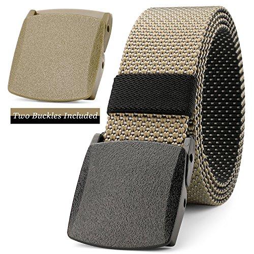 "JASGOOD Men Belt Reversible Belt Nylon Belt Outdoor Hiking Belt Unisex Belt Tactical Belt 1.5"" Wide Belt with Standby Plastic Nickel Free Buckle Up to 48"""