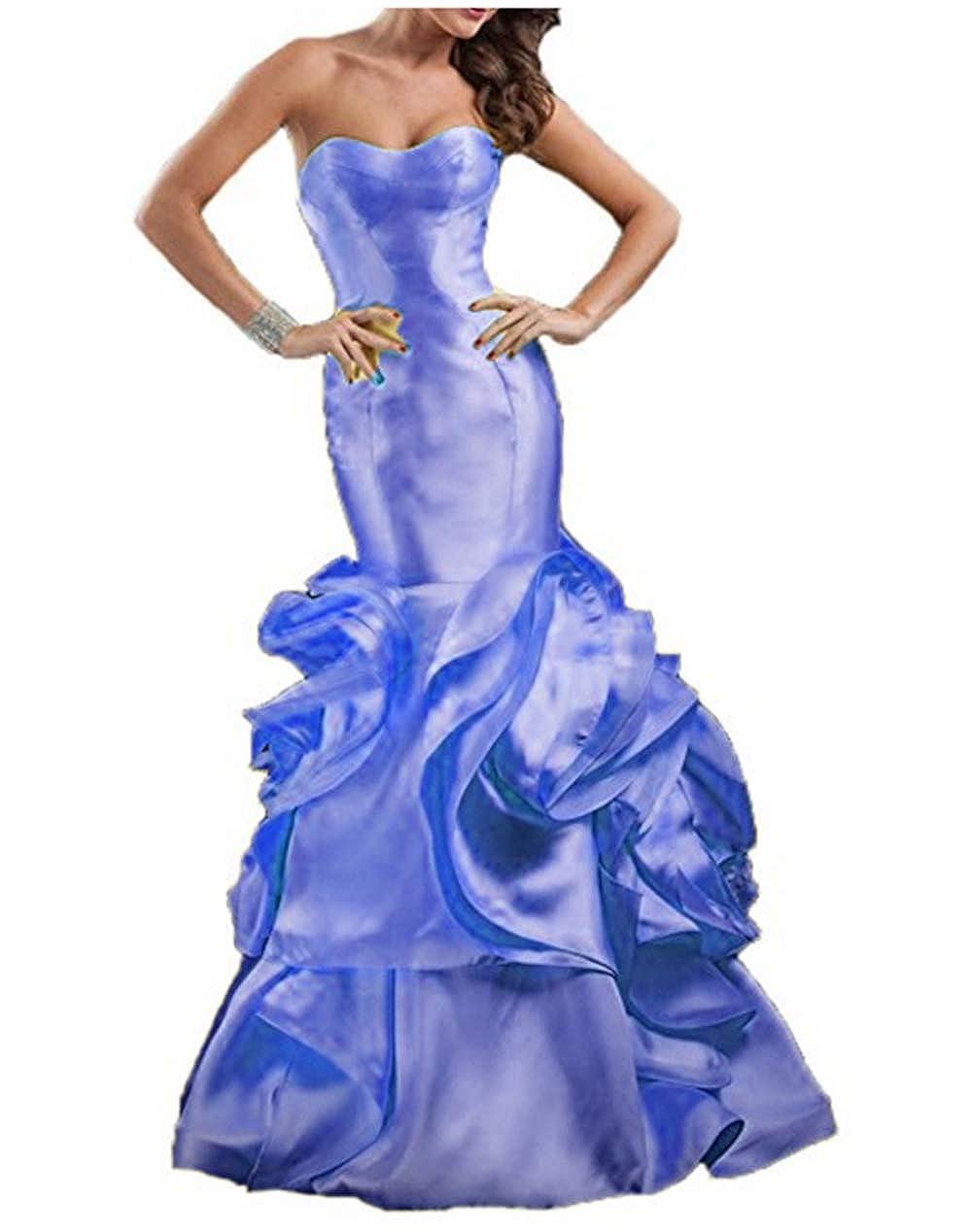 Purple FWVR Women's Sweetheart Ruffles Mermaid Formal Long Evening Prom Dresses