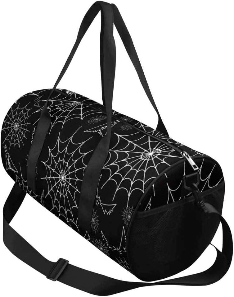 INTERESTPRINT Happy Halloween Bat Travel Duffel Bag Waterproof Duffle Bag
