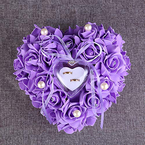 Price comparison product image V-Best High-Grade Western-Style Heart-Shaped Rose with Ring Box-Romantische Rose Ehering Kissen Herz Ring Kissen Schmuckschatulle