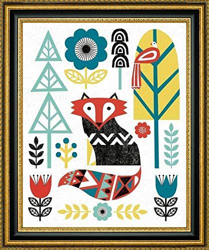 - Folk Lodge Fox V2 Teal by Michael Mullan - 17.25