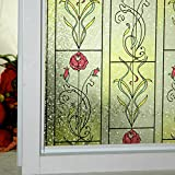 (36x120inch) DuoFire Decorative Repositionable Stained Non-adhesive Privacy Glass Window Film DP005-1