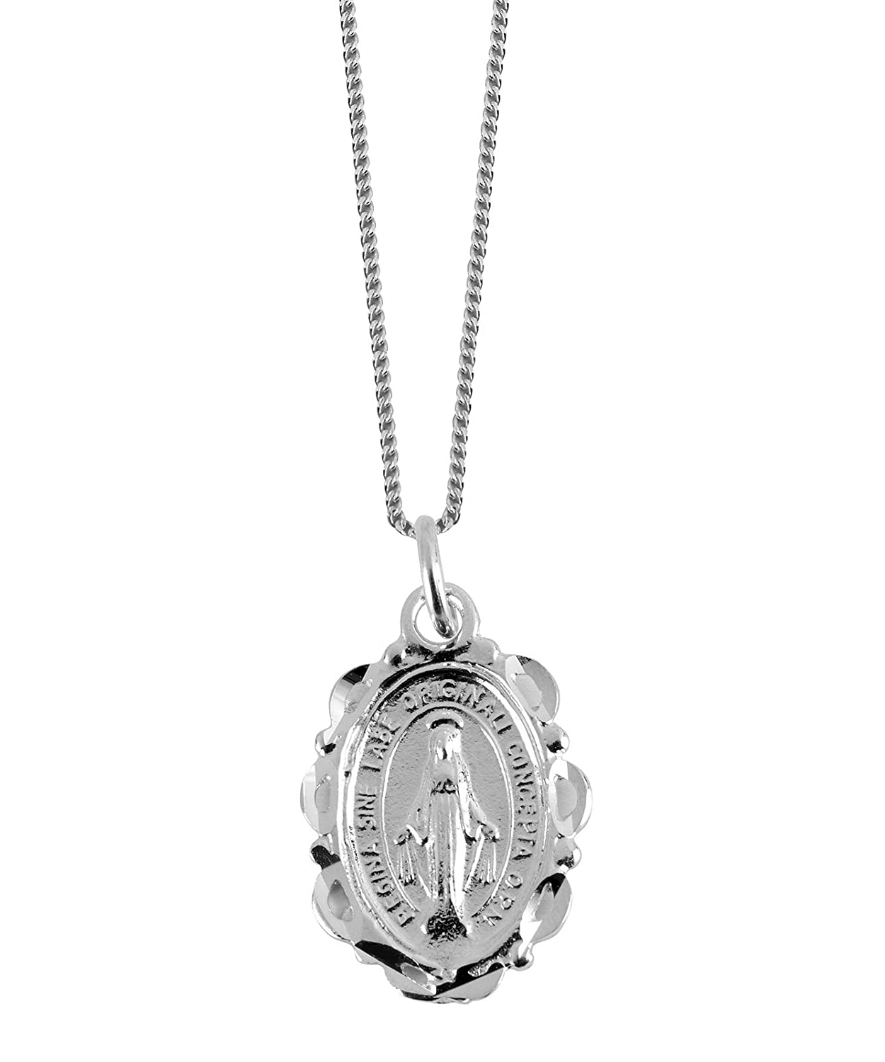 Sterling Silver Miraculous Medal with silver chain – perfect gift for the Christening or birth of a baby girl. Presented in a velvet lined case HB&H 3246