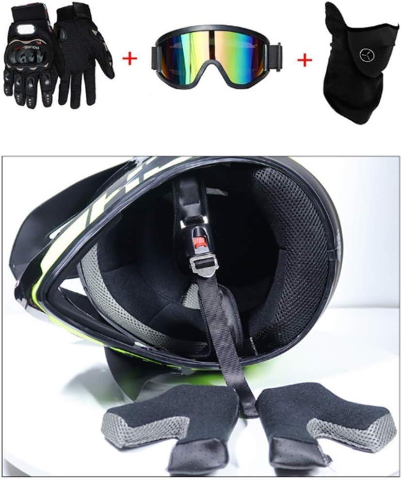 4 des Sets HWJF Doppel-Sport-Motocross-Helm MX-Motorradhelm ATV-Roller-Downhill-Schutzhelm D.O.T-zertifizierter Fuchs mit Schutzbrille Handschuhmaske
