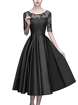 Scarisee Women s Half Sleeves Tea-Length Cocktail Mother s Dresses Lace  Illusion Scoop Evening Party Gown 72c697d3eff5