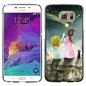 Paccase / SLIM PC / Aliminium Casa Carcasa Funda Case Cover para - Drawing Mommy Mother Kid Children - Samsung Galaxy S6 SM-G920
