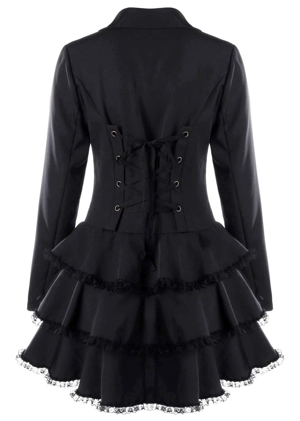 Nihsatin Women's Double Breasted Victorian Steampunk Blazer Coat Jacket with Lace Hem 4