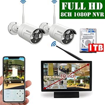 【2019 Update】 10 inch Screen HD 1080P 8-Channel Outdoor Wireless Security  Camera System,2pcs 1080P Wireless IP67 Weatherproof IP Cameras,70FT Night
