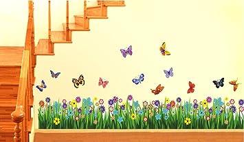 Buy Decals Design Walking in the Garden Flower Wall Sticker PVC