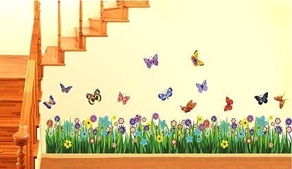 Decals Design Walking in the Garden Flower Wall Sticker (PVC Vinyl, 70 cm x 25 cm), Multicolour