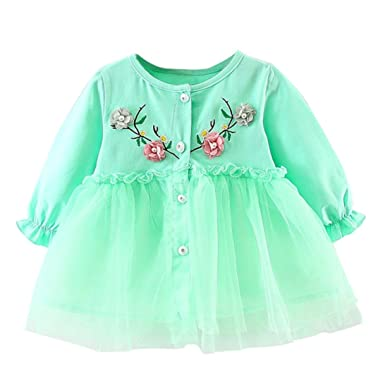 Toddler Kids Baby Girls Long Sleeve Princess Floral Tulle Party Dresses Clothes
