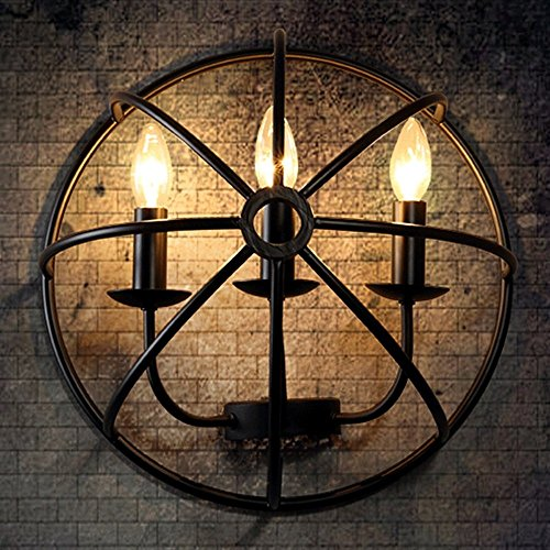 CGJDZMD Wall Sconce Vintage Wrought Iron Wall light Lamp Industrie Light Wall lamp E14 Socket for Balcony Restaurant Kitchen Dining room Children's room Loft Wall Spotlights by CGJDZMD