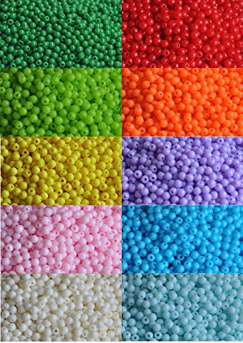 Yuren 2000 pieces of bulk plastic rainbow opaque mixed color pony beads handmade jewelry beads Assortment Box Set Value Pack(4mm,Boxed) -