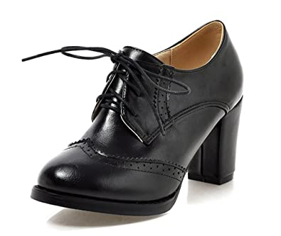 c584c118e602 WAROFT Ladies Vintage Chunky Block High Heels Lace Up Brogue Shoes Round Toe  Fashion Women Dress