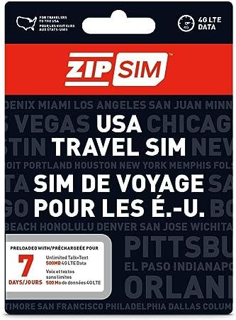 Amazon Com Zip Sim Prepaid Usa Sim For Travelers Talk Text Data 7