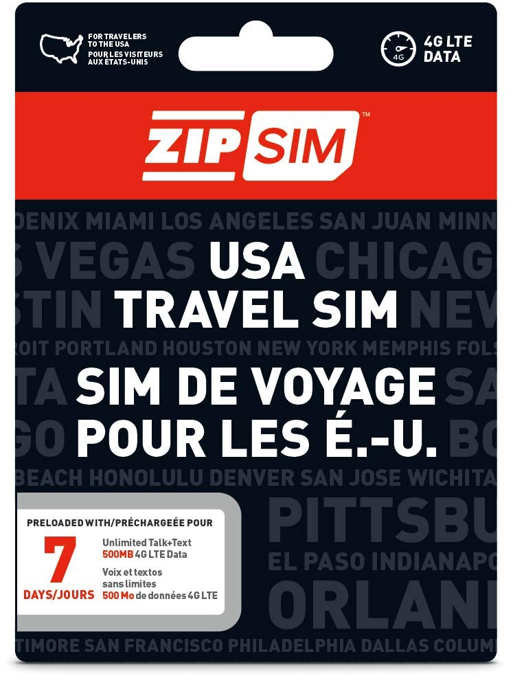 ZIP SIM Prepaid USA SIM For Travelers TALK+TEXT+DATA 7 Days Plan(Universal : Standard, Micro, Nano SIM) by ZIP SIM