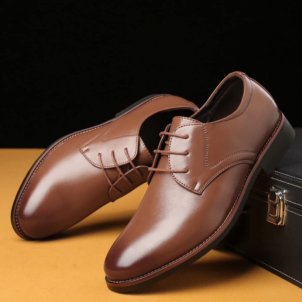 Color : Brown, Size : 28CM Mens Formal Business Shoes Classic Matte PU Leather Lace Up Breathable Lined Oxfords,Very Stylish
