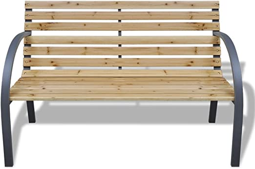 Banco de jardín con marco de hierro y listones de madera: Amazon.es: Hogar