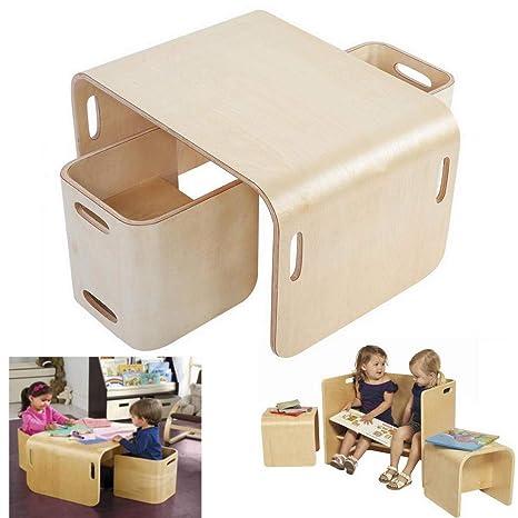 lyrlody Tisch und Stühle für Kinder, Holz Kindersitzgruppe ...