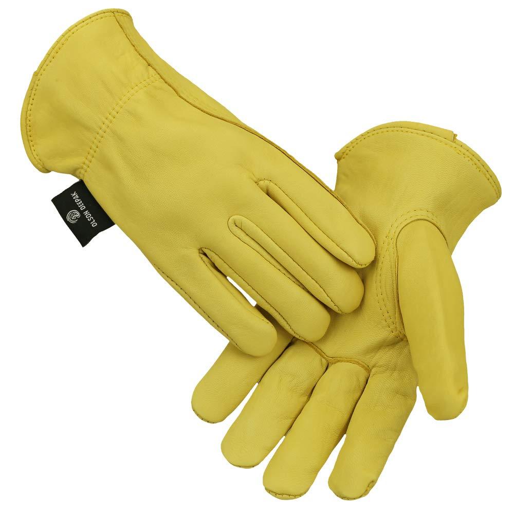 男性および女性用レザー作業手袋、牛革園芸用手袋、イエロー、1ペア(ミディアム)  B07KXGJ1PV