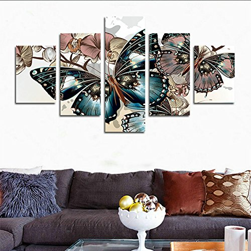 hcozy H.Cozy 5 Piece Abstract Floral Print Butterfly Oil Painting on Canvas Room Decor Printing The Image Canvas Print Unframed far158 50 inch x30 inch… -