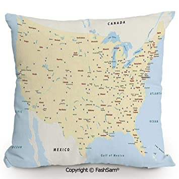 Amazon.com: FashSam Polyester Throw Pillow Cushion United ... on us interstate maps with states and cities, highway map of usa with states and cities, united states highways,