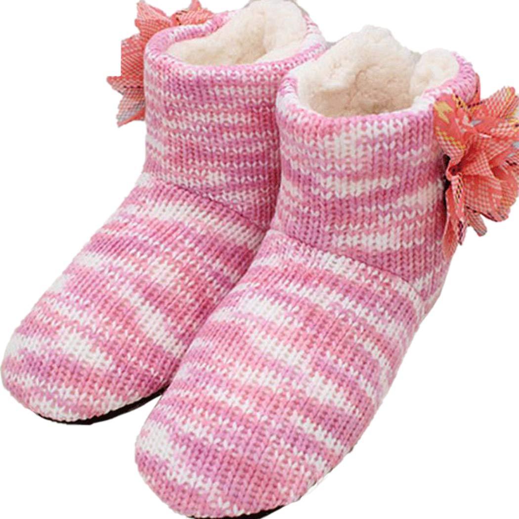 Mujer Suave Zapatos Botas Pisos Interiores Piso Flores de Ganchillo Inicio Primavera Calientes Zapatillas soñolientas: Amazon.es: Zapatos y complementos