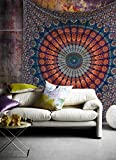 Indian hippie Bohemian Psychedelic Peacock Mandala Wall hanging Bedding Tapestry (Golden Blue, Queen(84x90Inches)(215x230Cms))